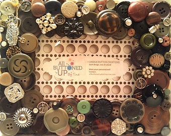 RESERVED ~ CUSTOM ONLY Golf Button Frame in Brown Black and Olive ~ Gift for Golfer ~ Rustic Art ~ Gift for Him ~ Sports Fan ~ for 4x6 Photo
