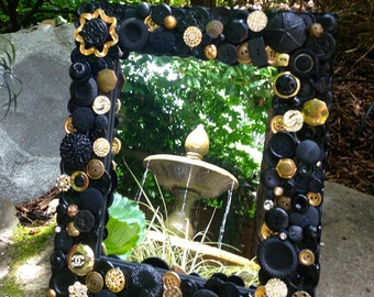 "Black and Gold Button Mirror 11""x13"""