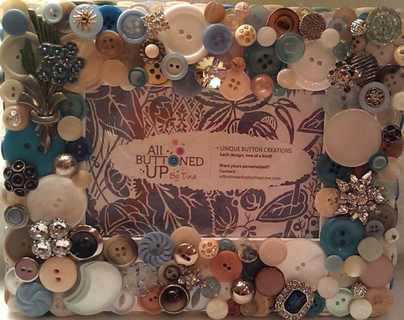 """RESERVED For Melanie - Blue, White and Tan Button Picture Frame for 4""""x6"""" photo"""