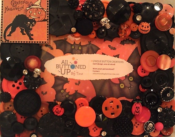 "SALE - Halloween Button Picture Frame in Orange and Black for 4""x6"" Photo"