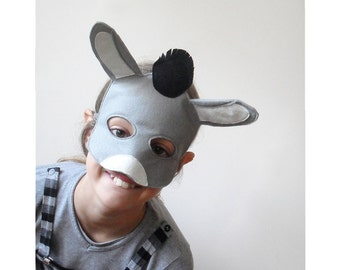 Kids Donkey Mask for Carnival and Nativity Play, Children Dress up Costume Accessory, Animal Pretend Play Toy Toddlers, Boys, Girls