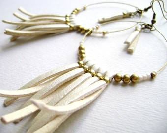 Fringe boho earrings - Somewhere - faux ivory leather eco keather bohemian style long earrings