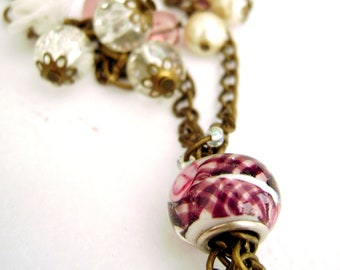 Feminine romantic vintage inspired necklace - I am Yours - Romantic Soft Pink and White Vintage inspired Unique Necklace