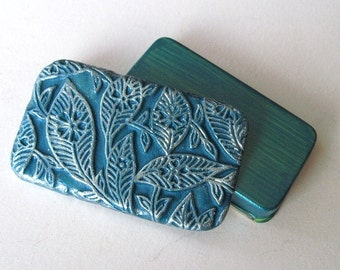 Pill Box Teal Blue Balinese Leaves
