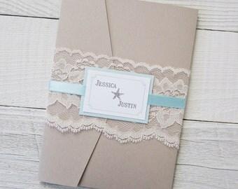 Rustic Beach Wedding Invitation - Starfish Ocean Tropical Destination Lace Pocket - Sample
