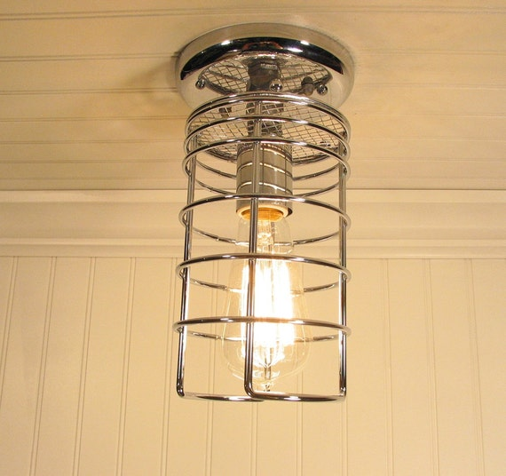 Thorndike. Industrial Inspired CEILING LIGHT Mix Media Created