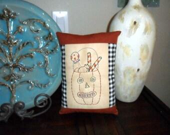 Primitive Halloween Pumpkin Jack O Lantern Stitchery Pillow