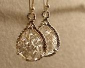 Crystal Glass Braid Silver Bridesmaid Earrings. Wedding earrings, Silver Earrings, Bridal Earrings, Bridesmaid Gift (3281W)