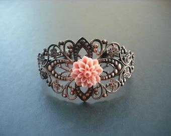 antique copper diamond filigree cuff bracelet