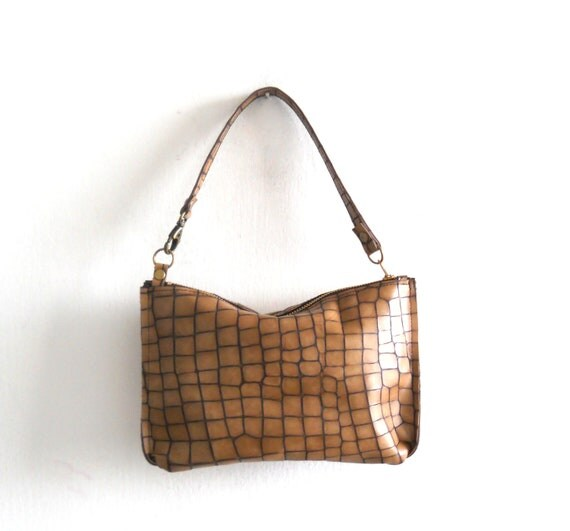 NOW ON SALE -Small brown leather purse-  crocodile pattern