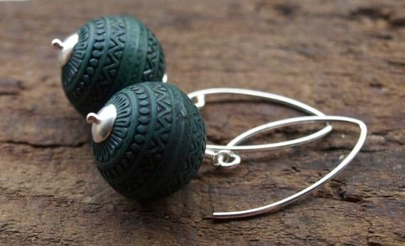 Teal Vintage Lucite Earrings in Sterling Silver