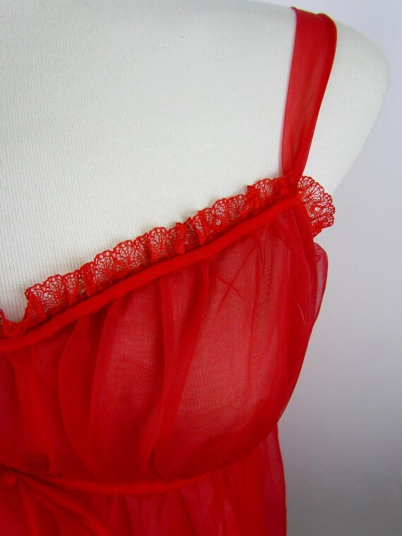 Vintage Valentines red sheer nightgown, sexy lingerie gift for your retro gal