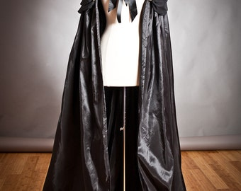 One size Black Cape Taffeta and organza Steam Punk Cape Perfect for Halloween