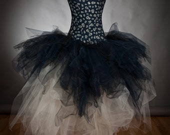 Custom Size tea length ivory and dark blue skulls Denim and tulle burlesque prom dress witch costume s-xl