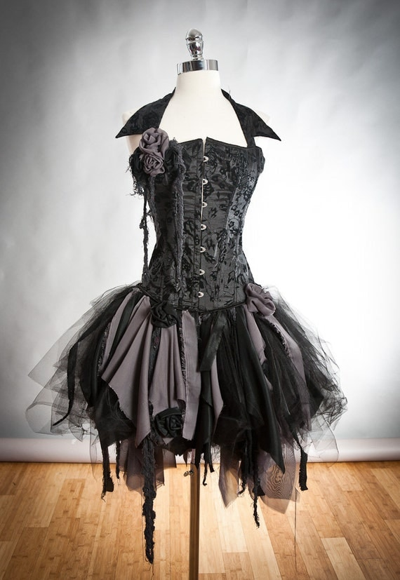Size Small black and gray Burlesque zombie corset dress with collar Ready to Ship