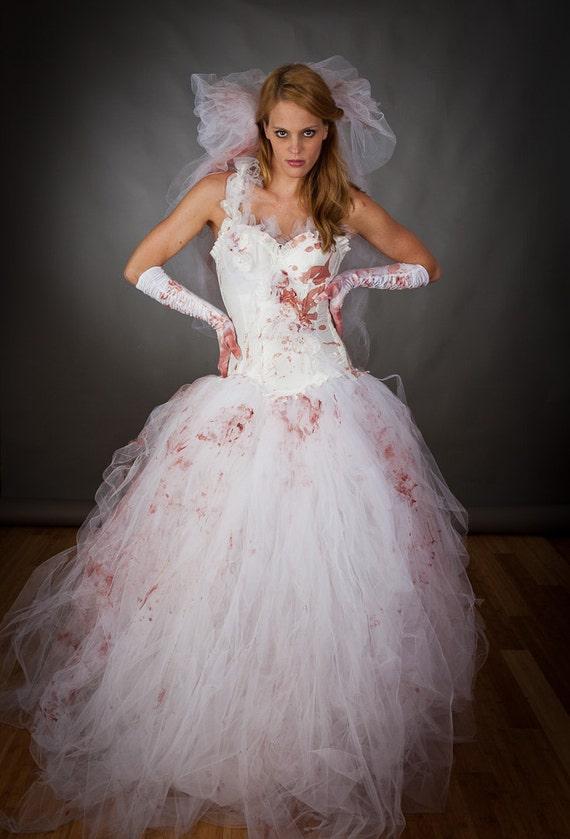Size Medium Bloody Tulle Burlesque Prom Dress Zombie Corpse