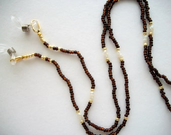 Brown Eyeglass Necklace Lanyard with White Vintage Fresh Water Pearls