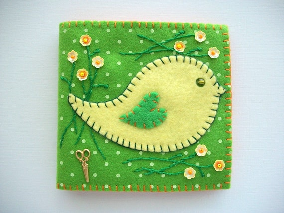 RESERVED LISTING Green Needle Book with Printed White Polka Dots Yellow Felt Folk Art Bird and Yellow Flower Sequins Handsewn