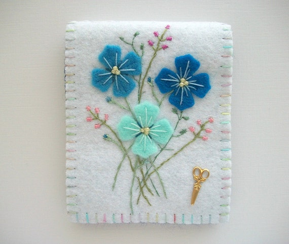 White Needle Book with Blue Hand Embriodered Felt Flowers Handsewn