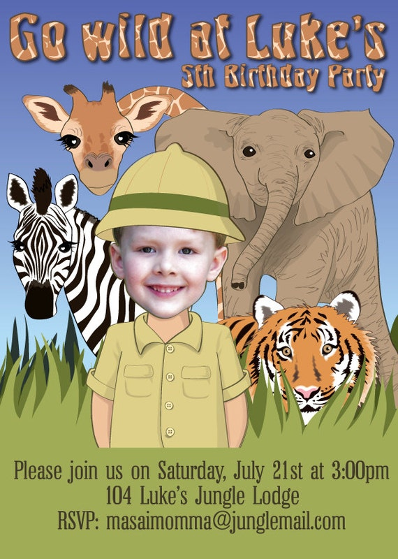 Safari Party Birthday Invitation for boy or girl - Personalized from your photo DIGITAL FILE