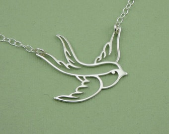Swallow Necklace - Sterling Silver Bird Pendant, Bird Jewelry, Bird Necklace, Bird Lover Gift, Trendy Necklaces, Birthday Gift