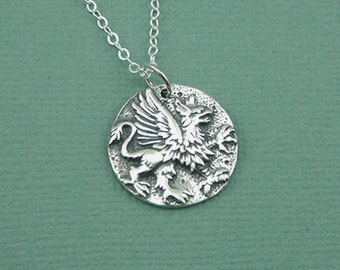 Griffin Necklace - Sterling Silver Griffin Pendant Jewelry, Greek Mythology Jewelry, Gryphon, Harry Potter Griffindor