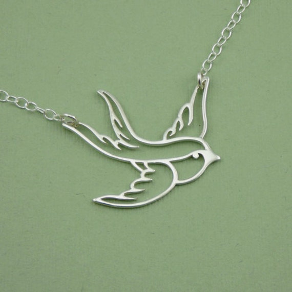 Floating Swallow Necklace - sterling silver bird pendant jewelry - handmade necklace - trendy jewelry