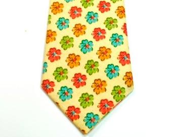 Floral Neckties, Wedding Neckties, Custom Neckties, Yellow Floral Ties, Mens Neckties,