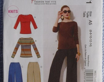 McCall's Pattern M6571 Palmer & Pletsch Knit Pullover Tops with Sleeve and Neckline Variations and Pants Misses' Sizes 6 - 14