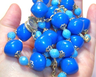 Hong Kong blue on blue beaded vintage necklace