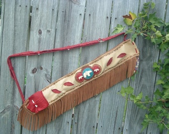 Handmade Flute or Pipe Bag with hand carved bone bear fetishes on the front