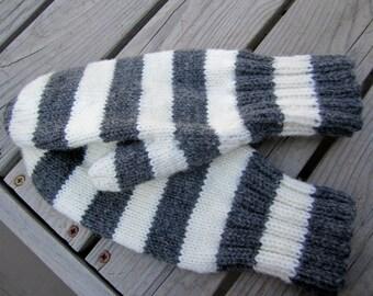 Wool Mittens Gray White Stripe Hand Knit Accessories Women Gloves and Mittens