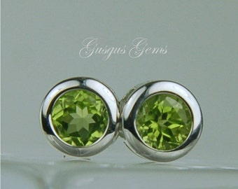 Peridot Stud Earrings Backset Bezel Sterling Silver 6mm Round 2ctw Natural Untreated