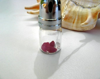 Sale - Glass Vial Necklace - Rubies and Herkimer Diamond in a Blown Glass Vial with Removable Lid