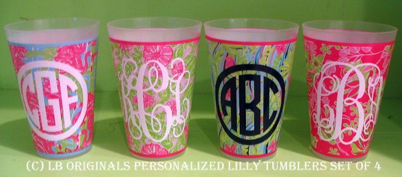 Set of 4 Personalized Lilly Pulitzer Tumblers