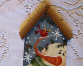 Hand Painted Sweet Birdhouse Snowman and Red Cardinal Christmas Wood Ornament