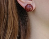 Art Deco Red Glass Earrings--Rhodium Silver with Gold Flecks