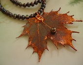 RESERVED Genuine Maple Leaf Necklace with Black Freshwater Pearls and Copper