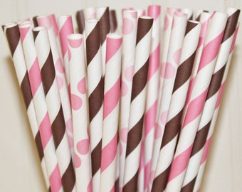 Paper Straws, 25 COWGIRL Party Paper Straws, Paper Drink Straws, Pink and Brown Paper Straws, Farm Wedding,  Farm Party,  Country Western
