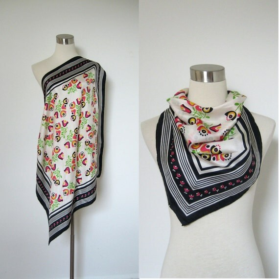 Silk Scarf / 1960s Graphic Mod Printed Scarf / Floral