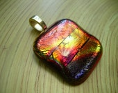 Amazing OOAK  Square Dichroic fused Glass Pendant, Shades of Fall -Gorgeous pendant