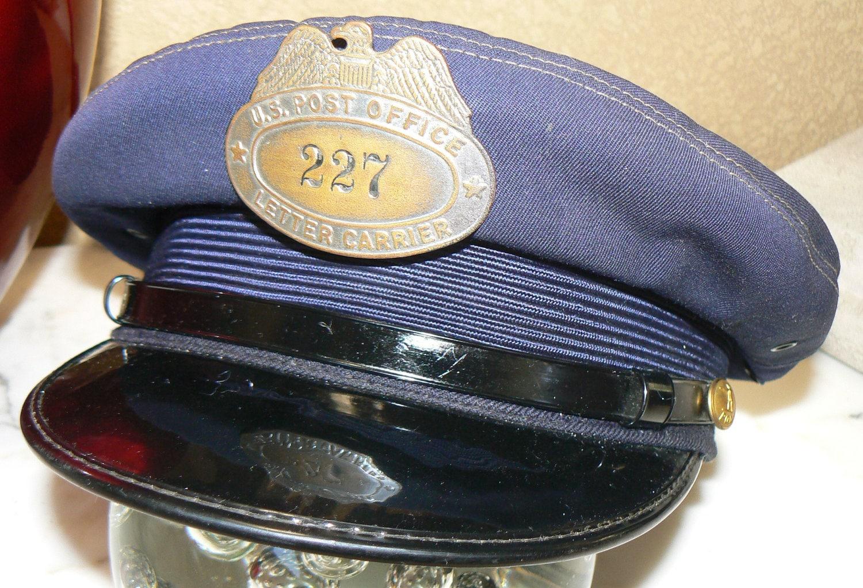 1950s US Post Office Letter Carrier Uniform Hat Mailman
