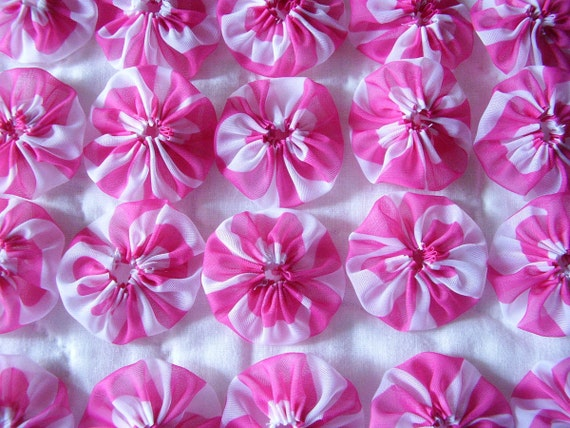 20 2 inch Pink  Stripe Yo Yo Hair  Clip Barrette Head Band  Trim Applique