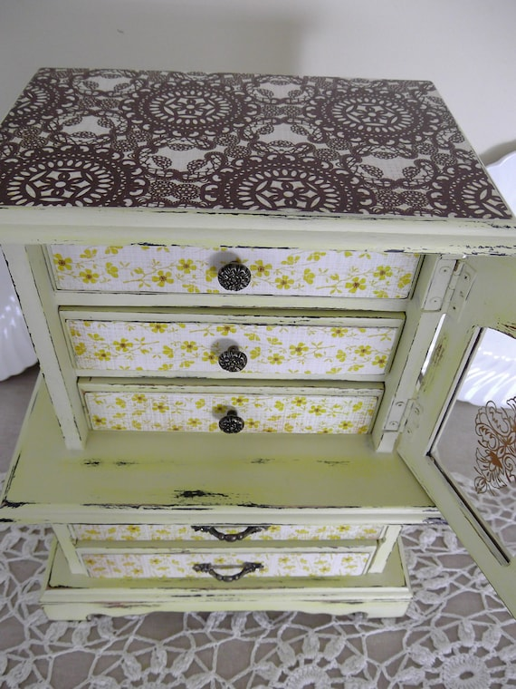 French Armoire Vintage Jewelry Box, Farmhouse cabinet, Handpainted Wood Jewelry Box in Shabby Chic Yellow Citron
