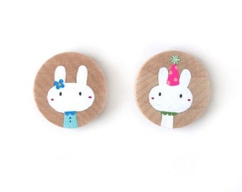 Bunny Rabbit Wooden Magnets in Blue dress and party hat