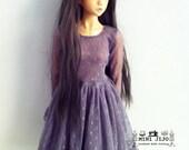 SD BJD Long Sleeves Grey Lace Ruffle Dresses for Dollfie 1/3 BJD 60 cm.