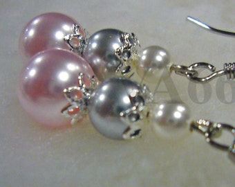 Bridal Swarovski Pearl Earrings 3 pearls Gift 27 Color Choices Bridesmaids, Flower Girl, Wedding, MOB, Prom, Casual, Mom Christmas