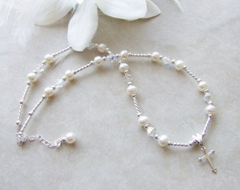 Child's Sterling Cross Necklace with Freshwater Pearl and Crystals N045