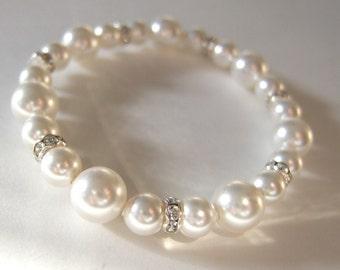 Simple Swarovski Pearl and Rhinestone Bracelet B165