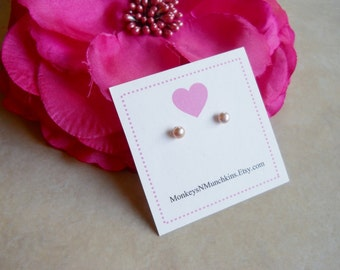 Child Baby First Mauve Pink Pearl Earrings Sterling Silver E006